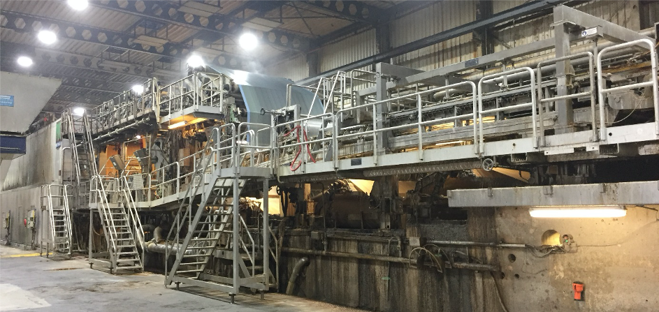 Photo of the PM7 board machine at the Eska Hoogezand board mill.